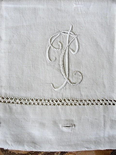 GORGEOUS Antique French Natural Linen Pillowcase Lustrous Raised Embroidery Monogram, China Button Closing Fine Vintage Linens