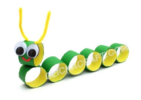 Toilet Paper Roll Caterpillar -Kids Craft Activities of Making Art Sculptures