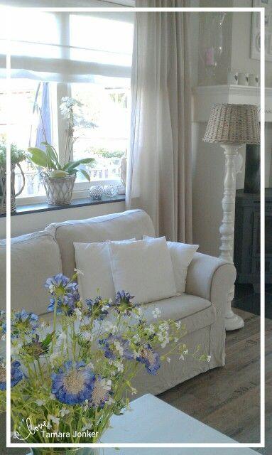 Living room by Tamara Jonker Home inspirations & decorations # lovely # rattan # white # sfeerhoekje # woonkamer # landelijke stijl