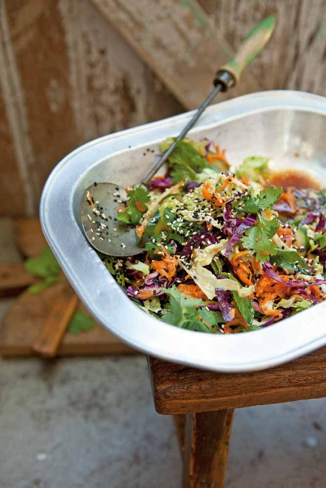 Asian Coleslaw : ½ Savoy cabbage(finely shredded), ¼ purple cabbage(shredded finely), 1 bunch kale (shredded finely) 4 Lebanese cucumber. Halved lengthways seeded and sliced thinly, 2 carrots(Peeled, grated coarsely), 1 bunch mint( washed and picked), 1 bunch coriander leaves picked washed, 1 tablespoon sesame seeds toasted, 1 tablespoon black sesame.