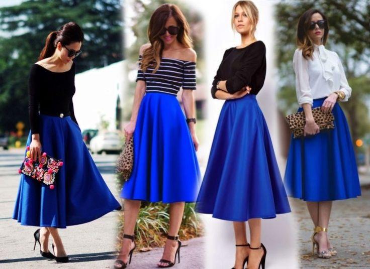 """Советы на тему """"С чем носить синюю юбку"""""""