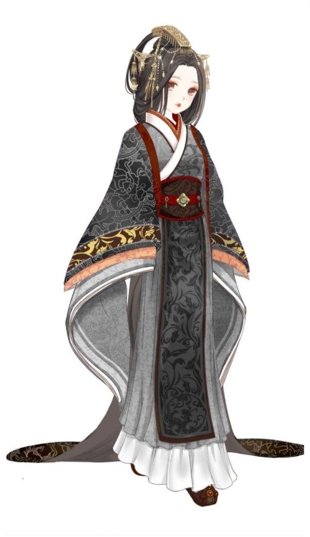 """暖暖环游世界动漫 人设 百美图系列之""""卫子夫""""套装 服装 造型 高清大图 黑款"""