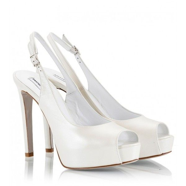 Fratelli Karida - Pearl-white leather high heel platform sling-back... ($160) ❤ liked on Polyvore featuring shoes, pumps, white, evening bridal shoes, peep toe slingback pumps, wedding shoes, white slingback pumps and white high heel pumps