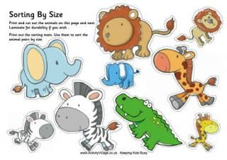 African Animal Sorting Big and Small and Lots of Lacing Card Printables