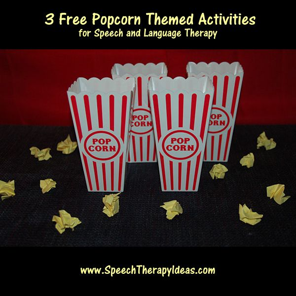 3 Free Popcorn Themed Activities for Speech and Language Therapy