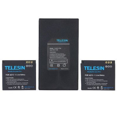 TELESIN YI-BCG-T02 Battery Charger Set TELESIN YI-BCG-T02 2-slot battery charger + 2PCS 1010mAh battery for Xiaomi Yi5V / 1A – 2A outputComes with two pieces battery packBattery capacity: 1010mAhFit for Xiaomi Yi action camera Note:Camera showed in the photos is not included in the package. Apply to Brand :Xiaomi|Compatible with :Xiaomi Yi|Accessory Type:Battery Charger, Battery|Material:Plastic|Battery …