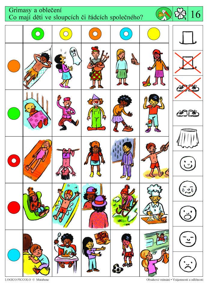 Vhodné pro děti od 5 let Soubor obsahuje 16 různých karet, vždy s 10 úkoly. Karta se zasunedo rámečku a barevné knoflíky se přisouvají ke správné