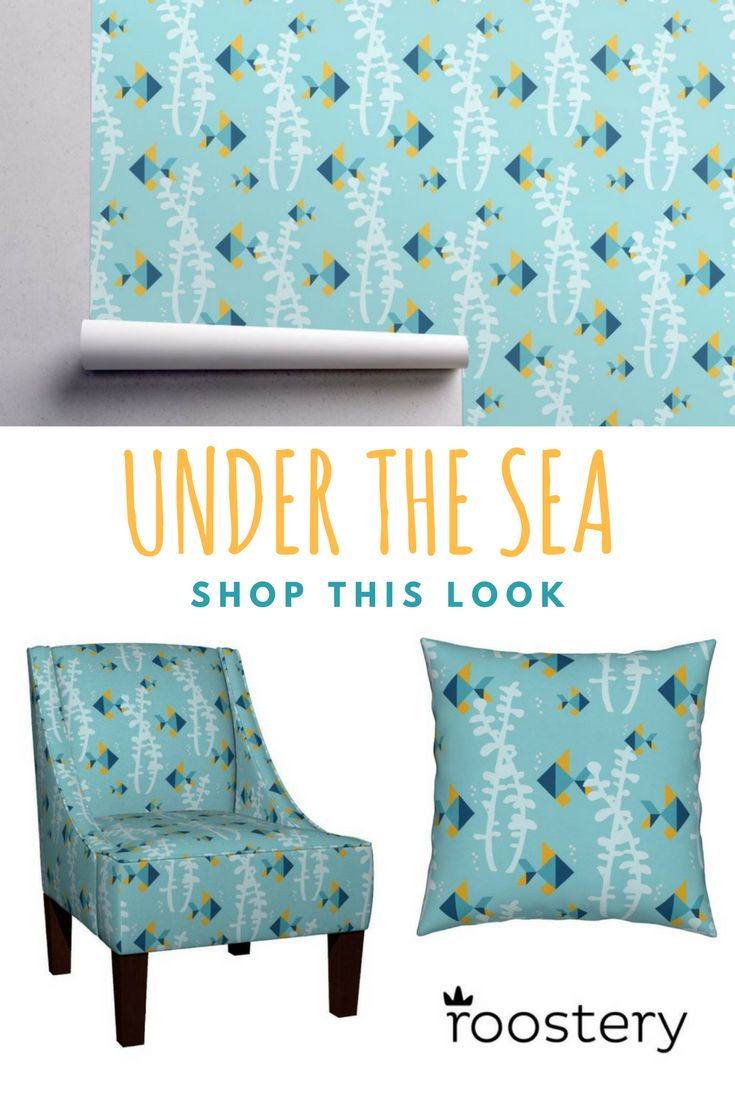Underwater kids theme! Shop pillows, wallpaper, chairs and more. All from Roostery!