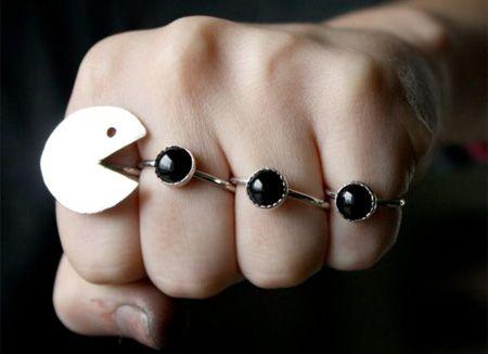 Pac-man set of rings! Sweet!