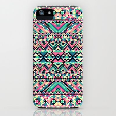 Pink Turquoise Girly Aztec Andes Tribal Pattern iPhone Case by Railton Road | Society6