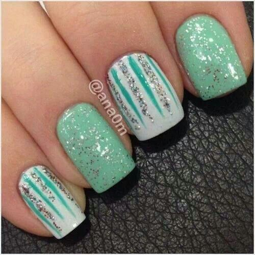 Very glittery nail art. It's nice and refreshing.