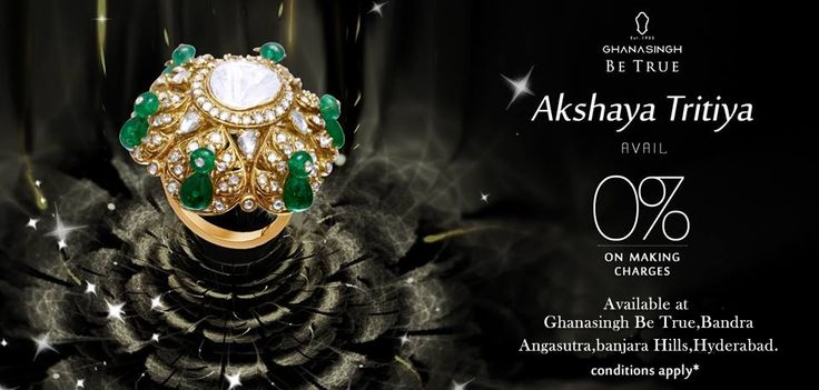 On this #AkshayaTritiya #celebrate the #prosperity brought by the #Gods, at the Ghanasingh Be True Jewellery Salon for a truly enthralling #shopping experience.Begin this week joyously with a #pleasant 0%* on making charges