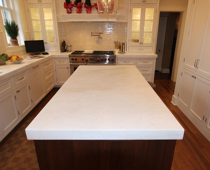 kitchen island countertop with light colored granite