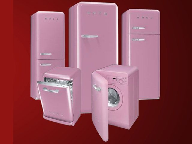 OMG not only could i have a pink SMEG fridge, but can also have a matching dishwasher and washing machine too