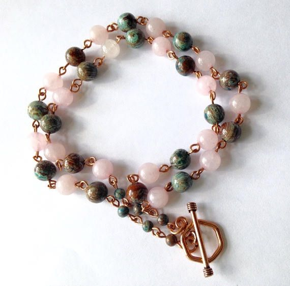 Rose Quartz Necklace, Rustic Boho, Gemstone Bead Chain, Copper Wire Wrapped, Necklace Earring Set, with Solid Copper Dangle Earrings https://www.etsy.com/listing/209011376/rose-quartz-necklace-rustic-boho?utm_campaign=crowdfire&utm_content=crowdfire&utm_medium=social&utm_source=pinterest