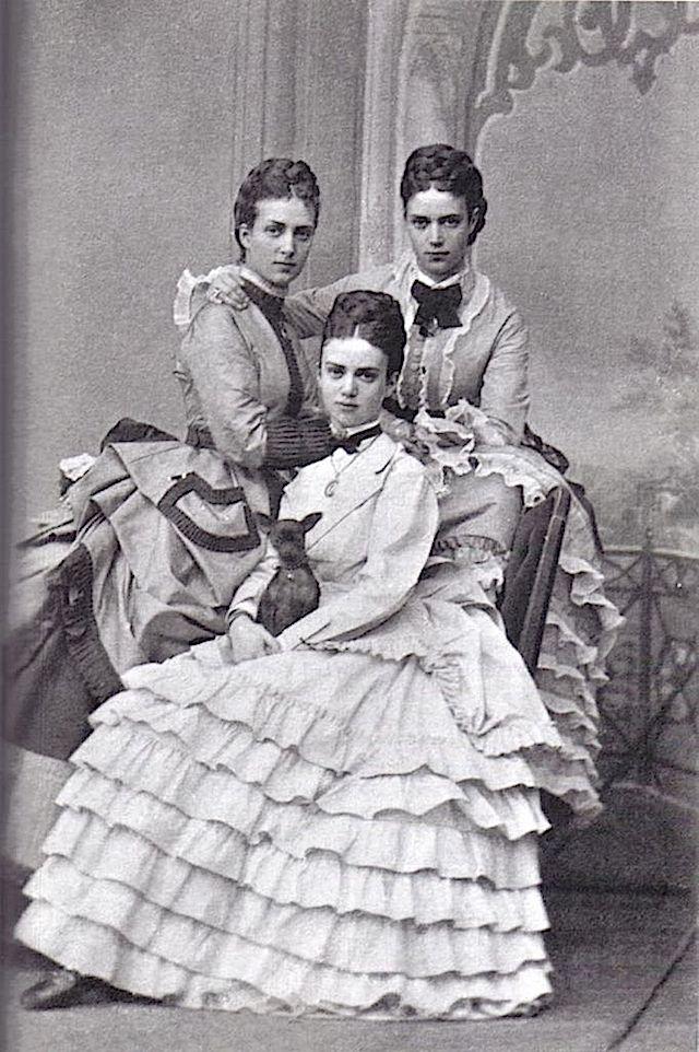 "3 Daughters of King Christian IX (1818-1906) Denmark & Princess Louise (1817-1898) Hesse-Kassel, Germany in 1889: Princess Thyra Amalie (1853-1933) wife of Ernest Augustus (1845-1923) Crown Prince of Hanover, Germany & Duke of Cumberland, UK.  Princess Alexandra Caroline ""Alix"" (1844-1925) wife of Albert Edward (King Edward VII) (1841-1910) UK. Princess Marie Dagmar (renamed Maria Feodorovna) (1847-1928) wife of Emperor Alexander III (1845-1894) Russia."