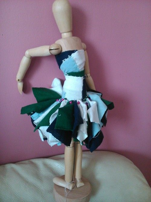Prototype of a dress which is made from recyled t-shirts