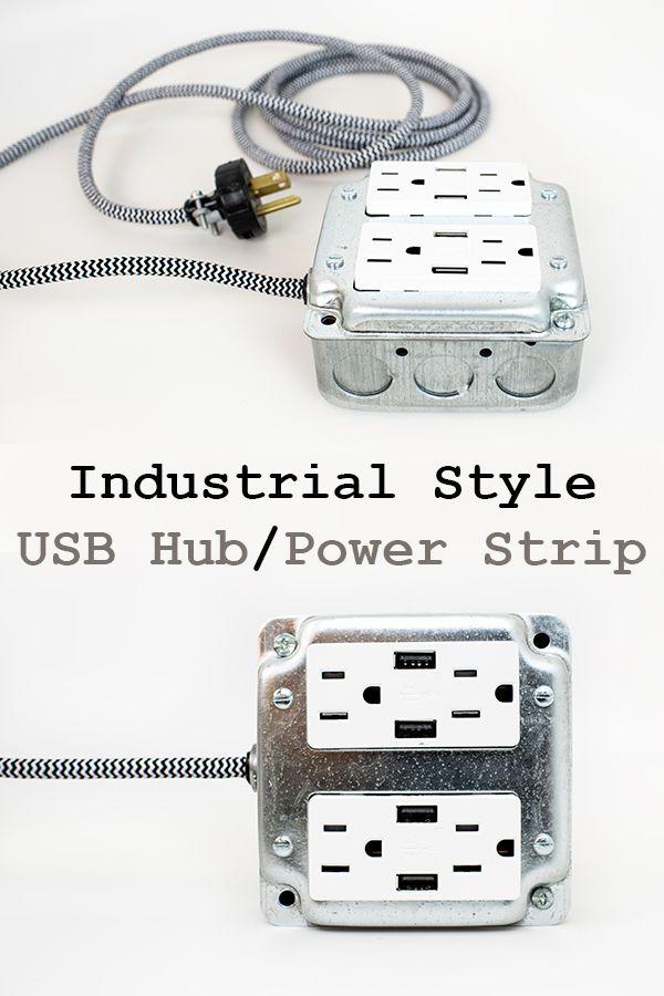 Diy Usb Hub : Industrial, Style, Power, Strip, Garage, Bench,