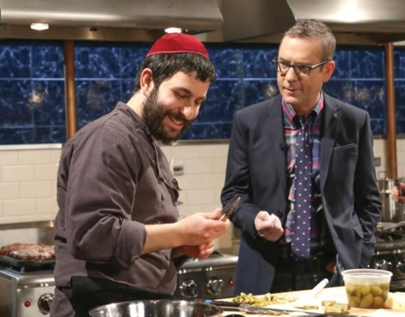 """Rabbi Hanoch Hecht with """"Chopped"""" host Ted Allen. Courtesy of The Food Network"""