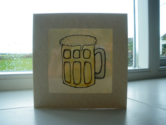 Handmade card for men   hand painted pint of beer by itsaMessyNest, £3.75