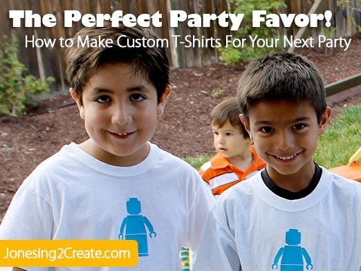 How to make custom t-shirts for your next birthday party. Much better party favors than candy or cheap, plastic toys!