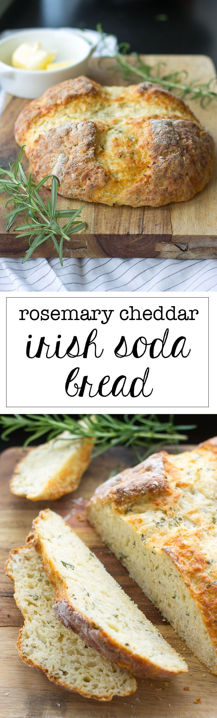 Rosemary and cheddar baked into the loaf makes for a dynamite savory spin on Irish soda bread. #sodabread