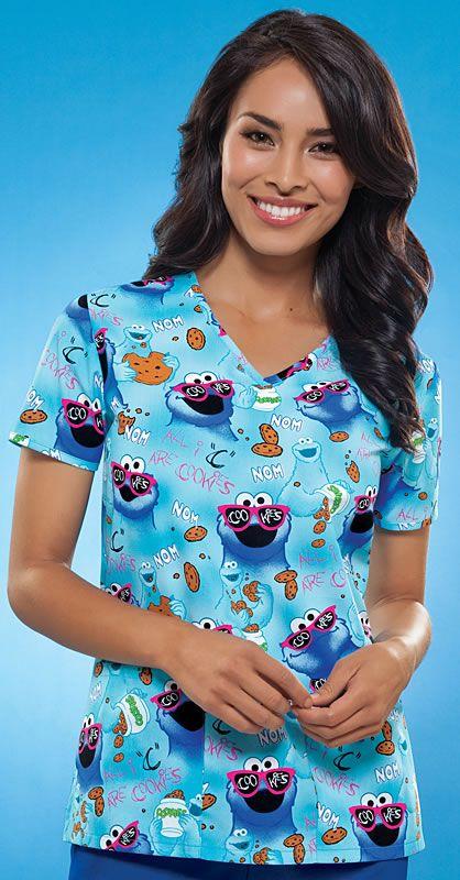Scrubs - Cherokee Tooniforms Nom Nom Scrub Top   Lydias Scrubs and Nursing Uniforms