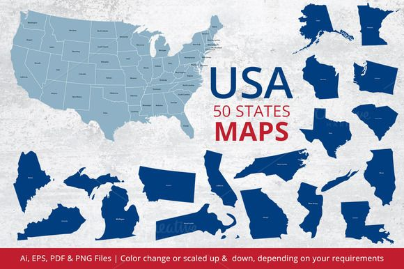 States Maps of USA by ArtFusion on @creativemarket