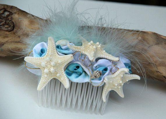 Sterrenhemel Seashore starfish haartoebehoren, zeemeermin haar kam, strand bruiloft, zeemeermin accessoires starfish hair clip kust bruiloft, turquoise