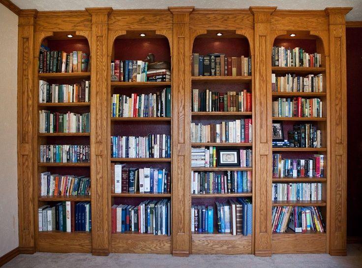 Custom Made Built-In Oak Bookshelves