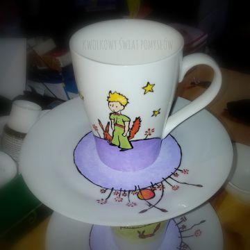 Mały Książę  i lis - kubek i tależyk,  Le Petit Prince et le renard,  The Little Prince and fox - cup and saucer