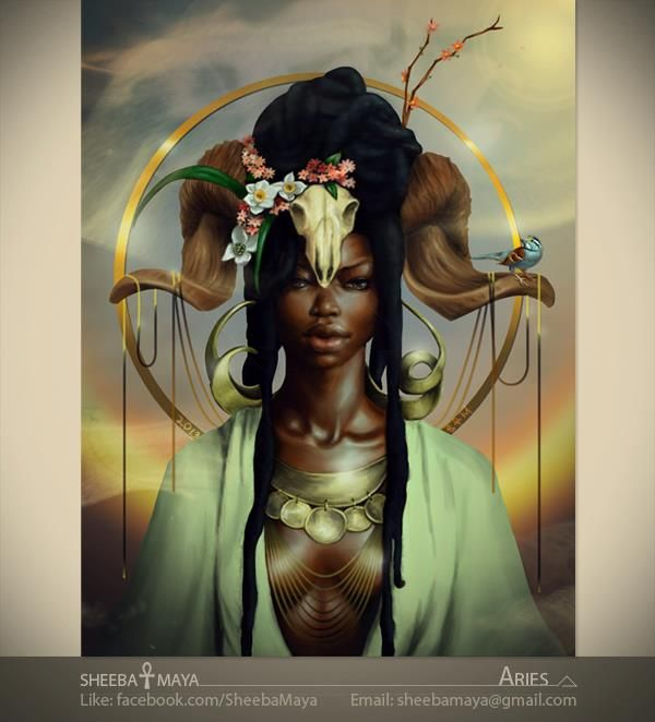 211 best black and african american fantasy art images on for Flowers for aries woman