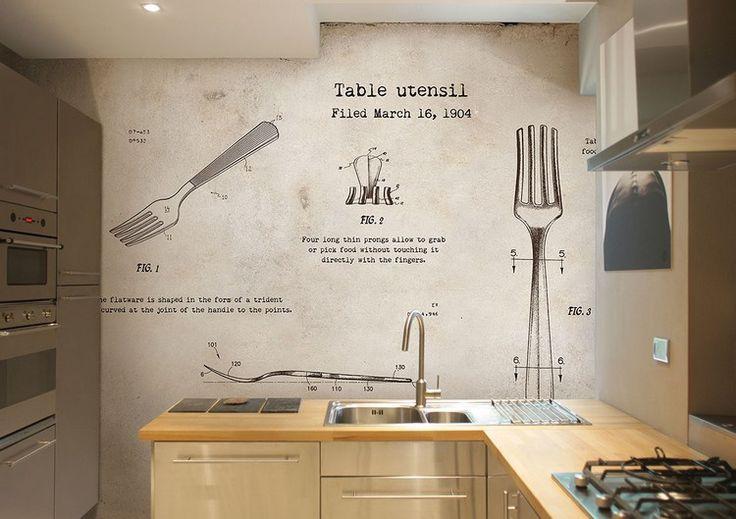 Tapete mit Gabeln und Schriftzug für eine kreative Wandgestaltung in der Küche