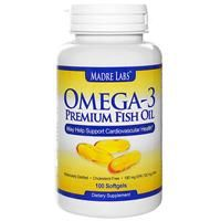 Madre Labs, Omega-3 Premium Fish Oil, 180 mg EPA/120 mg DHA, 100 Softgels