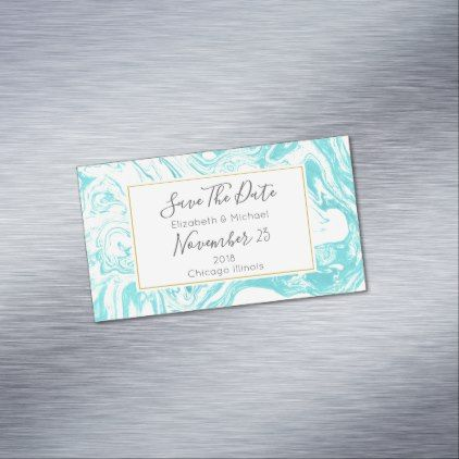 Marble Design in Turquoise Wedding Save The Date Magnetic Business Card - elegant gifts gift ideas custom presents