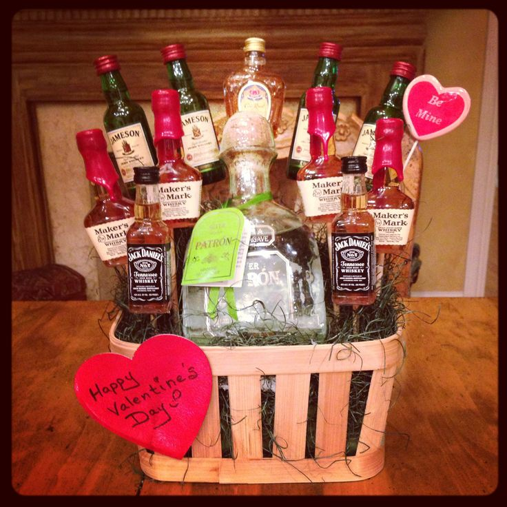 Alcohol bouquet I made for my boyfriend (Now Fiancee).  All MINI bottles except for the Patron bottle(Thats a big one) #valentineforhim #Valentineformen #alcoholbouqet