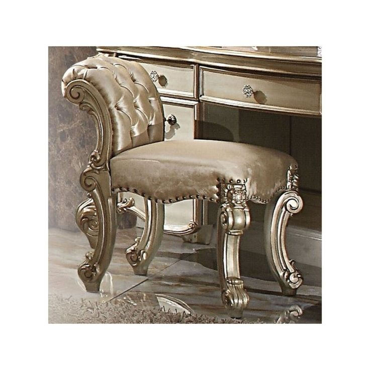 Fabric upholstered wooden vanity stool with tufted back