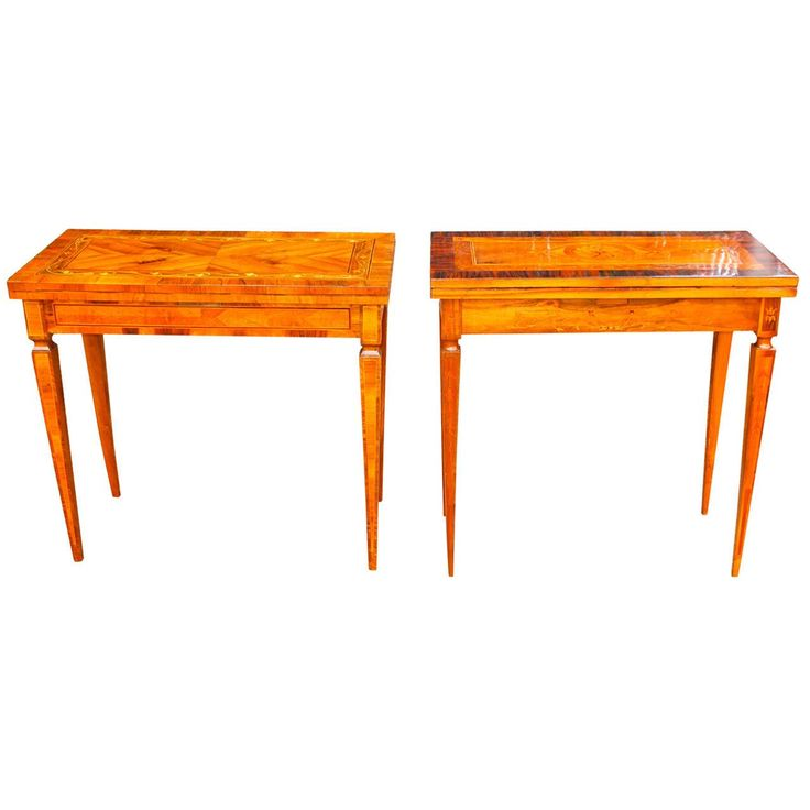 Near Pair of North Italian Fruitwood Marquetry Games Tables | From a unique collection of antique and modern game tables at https://www.1stdibs.com/furniture/tables/game-tables/