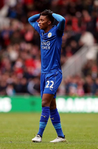 Demarai Gray of Leicester City reacts during the Premier League match between Middlesbrough and Leicester City at Riverside Stadium on January 2, 2017 in Middlesbrough, England.