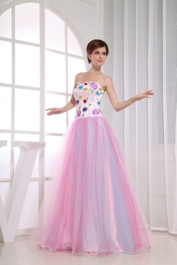 Women's #Fashion Clothing: #Formal #Gowns and #Dresses: Honeystore Women's Floor Length a Line Sweetheart #Strapless #Dress In #Pink and #White with #Colorful #Floral Pattern Designs: Clothes