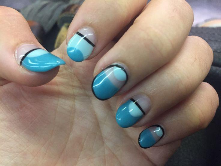 Hand painted gel manicure in shades of turquoise. StudioL. Calgel / Biogel.