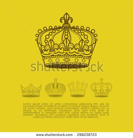 Collection of vintage elegant ancient crowns with text space. Vector crown set. Aristocracy insignia emblem design.  - stock vector