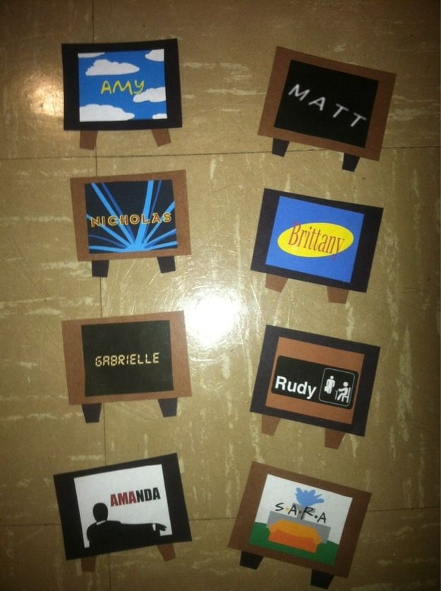 Cutest Name Tags! - From left to right: The Simpsons, Lost, Futurama, Seinfeld, 24, The Office, Mad Men, Friends