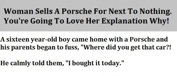 Woman Sells A Porsche For Next To Nothing