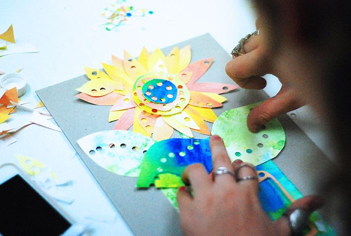 Using watercolours creatively in the kids art studio - to make a paper art flower! www.artandco.com.au