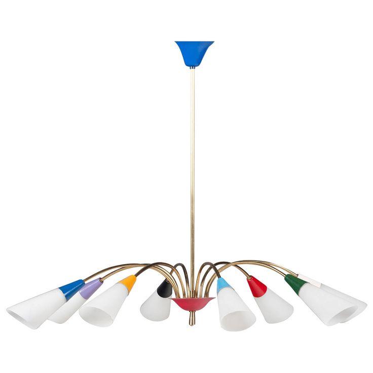 Vintage Italian Brass and Multi-Coloured Pendant Lamp, 1950s
