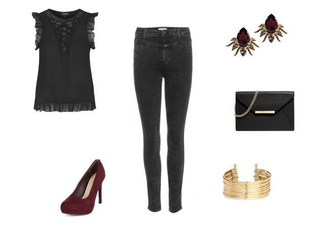 Holiday Style - Holiday Dinner Party Outfit - Black Skinny Jeans and Black Lace Top With Red Heels