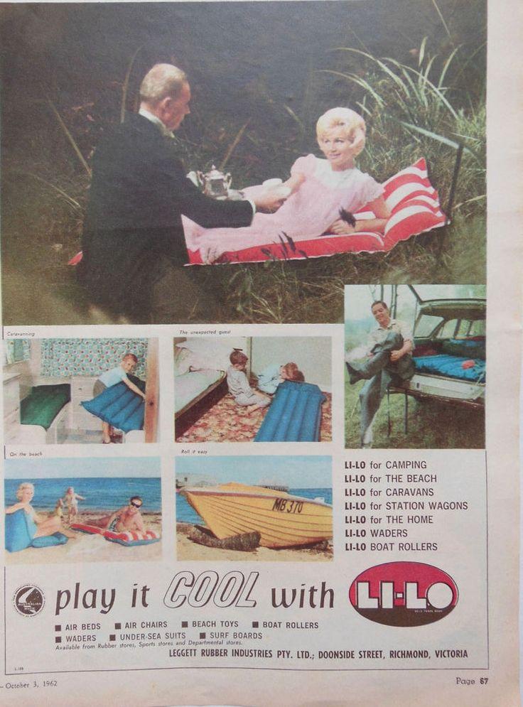 LI-LO BEACH TOYS AD 1962 original retro vintage AUSTRALIAN home advertising