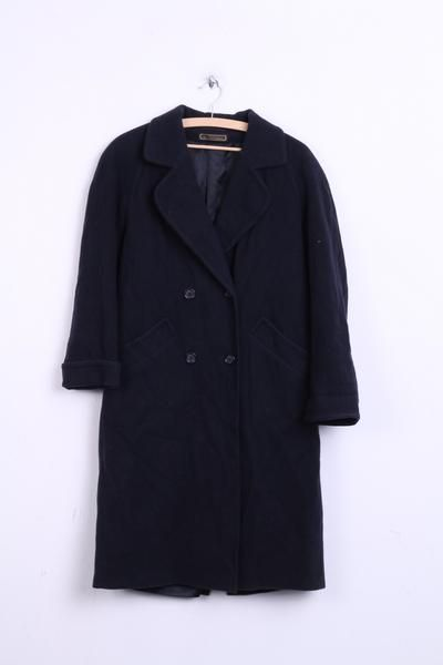 Marks&Spencer Womens 12 L Coat Navy Wool Nylon Double Breasted Raglan Sleeve - RetrospectClothes