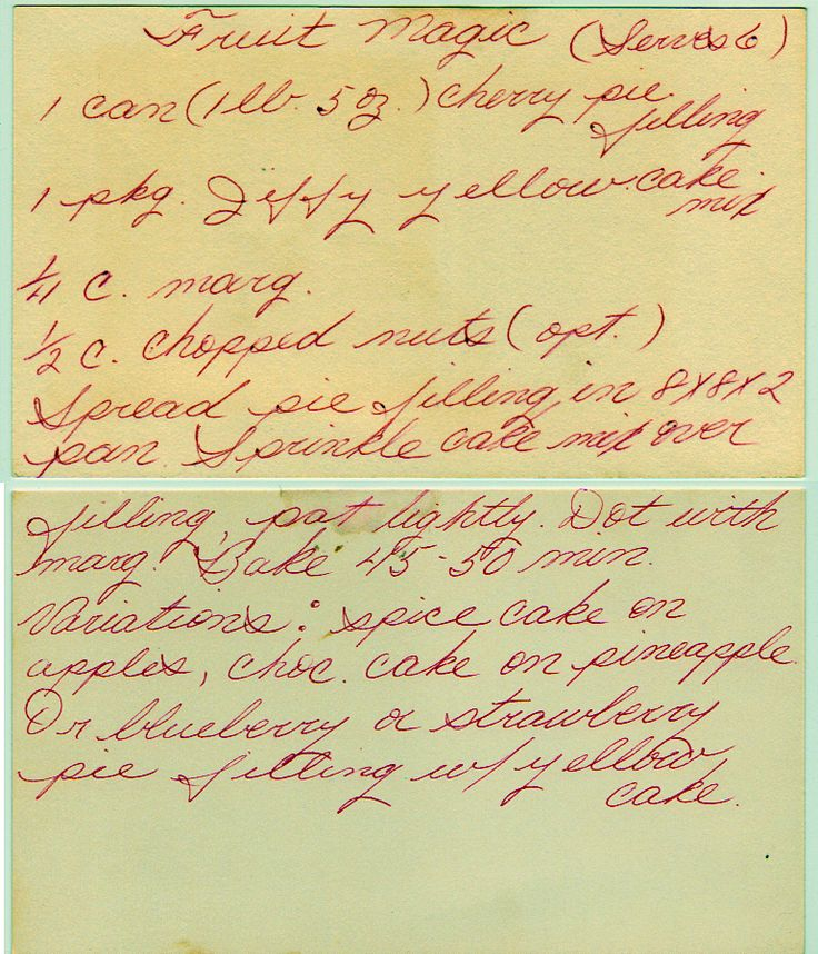 Fruit Magic ~ I received this recipe when I married 30 yrs ago.  (Although, this is not my recipe card).  It is DELICIOUS and SO SIMPLE!   Wonderful served as is, or with ice cream.  Another reason, I like this recipe so much, is that you can KEEP the INGREDIENTS ON HAND!  When company drops by, you can have a dessert ready in less than an hour!  :) dwb